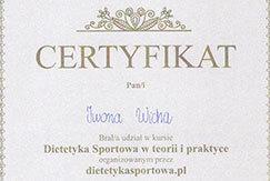 Certyfikat Iwona Wicha